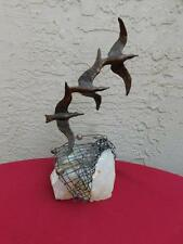 Vintage Curtis Jere brass Seagull Sculpture Birds in Flight on Quartz Signed