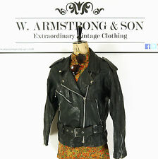 Women's Black GENUINE LEATHER Belted Punk Moto BIKER Perfecto MILAN Jacket UK 14