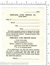 4437 Portable Auto Trench Co. 1918 order form, Lynn, MA car repair automotive