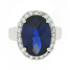 NEW OLD STOCK STERLING SILVER BLUE CUBIC ZIRCONIA RING LOT 0011