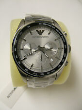 (M) EMPORIO ARMANI STAINLESS STEEL SILVER CHRONOGRAPH WATCH AR6095 NEW WITH TAG