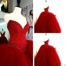 New Red Quinceanera Dress Beaded Ball Gown Prom Paty Wedding Dress Custom Size