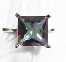 Sterling 925 Silver Filled Size 6 Ring 10*10mm Rose Rainbow Topaz Gemstone