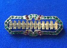 Antique Art Deco Silver tone metal rhinestone Geometric Brooch- suffragette