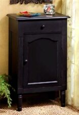 ANTIQUE BLACK WOOD STORAGE CABINET, SIDE, END OR NIGHT TABLE ** NIB