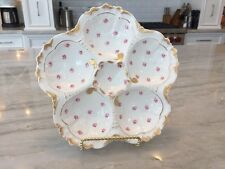 Antique LIMOGES OYSTER PLATE:  6 Well, Gold Trim, Rose Pattern, NO RESERVE