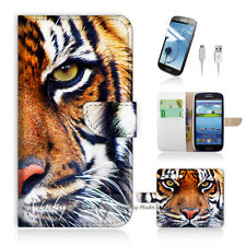 Samsung Galaxy S3 Print Flip Wallet Case Cover! Tiger Face P0029