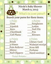 24 Baby Shower Game Cards Whats In Your Purse Game -  Turtle and Frog