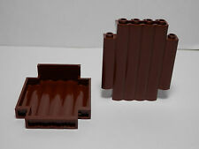 Lego Legos - Set of  2 NEW  2 x 6 x 6 Log ( Stockade Fort ) Wall  Panel  BROWN