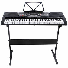 Black 61 Key Music Electronic Keyboard Electric Digital Piano Organ w/Stand