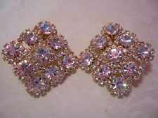 JOAN RIVERS White Crystal Clip Earrings