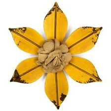 """10"""" Yellow Metal Flower with Burlap Center Wall Decor. Garden of Delight. NEW"""