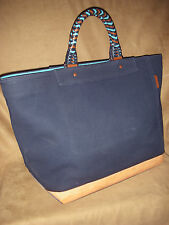 $398 - COACH LADIES XL NAVY CANVAS / BRAIDED LEATHER TOTE