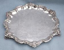 ANTIQUE GEORGIAN SHEFFIELD CHASED SILVER PLATE HEAVY FOOTED TRAY