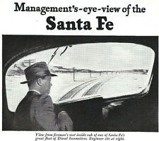 1946 Ad ~ SANTA FE Railroad RR ~ View from fireman's seat inside locomotive cab