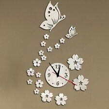 Modern Butterfly Flower DIY Removable Wall Clock Mirror Decal Sticker Home Decor