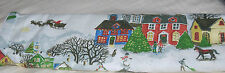"POTTERY BARN CHRISTMAS WINTER VILLAGE TABLE RUNNER 18x108"" NEW"