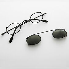 Small Round Clip on Vintage Sunglass & RX Optical Frame Black-Ansel