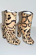 Gucci Lillian Horsebit Pony hair Leopard Mid Calf Booties Boots 366028 size 6