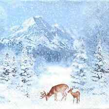 4 Single Paper Table Napkins for Decoupage Christmas Winter Mountains Deer