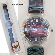"NEW DISNEY PIXAR 'CARS' WATCH 1-1/4"" FACE PRINTED BAND CHILDS TIME PIECE (TC)"