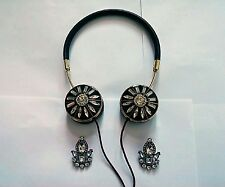 FRENDS Rose Gold Layla x BaubleBar Black Blossom Jeweled Headphones + Earrings