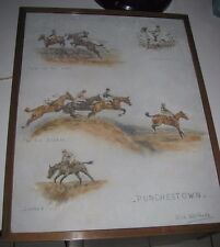 Olive Whitmore Rare Drawing Punchestown signed One of a kind!  Vintage