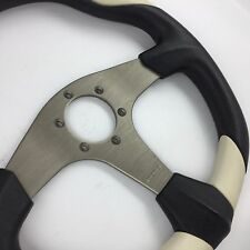 Momo Quark polyurethane, white leather 350mm steering wheel. Genuine. Race,rally