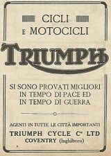 W9007 TRIUMPH - Cicli e Motocicli - Pubblicità del 1917 - Vintage advertising