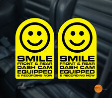 Sonrisa Dashcam Decal/Sticker Pegatina De Advertencia De Cctv. en Coche Par 95x60mm cada uno