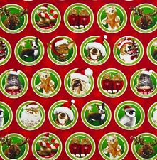Fat Quarter Making Spirits Bright Christmas Red Cats Dogs Quilting Fabric