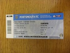 28/02/2015 Ticket: Portsmouth v Oxford United  (folded). Unless previously liste