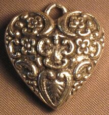 Classic Hardware Silver Tone Rock Puffy Scroll Heart 2 Sided Pendant