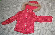GIRLS Size 4 WINTER COAT Mauve Pink POLKA DOTS Faux Fur Trim Hood