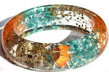 Handmade Real Flower Botanical Garden Resin Bangle Bracelet.{33}