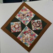 Handmade Playful Quilt Cats On Point pieced Baby Quilt top 35 x 35