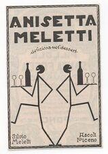 Pubblicità vintage ANISETTA MELETTI LIQUORE old advert reklame werbung publicitè