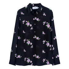 NWT 169USD 100% silk black floral print blouse size M, Equipment style