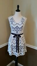 NWT Modcloth Dress M Ivory Lace w/ Navy Blue Sash Arm in Charm Skater Pink Owl