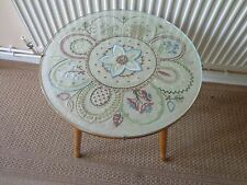 VINTAGE HANDMADE WOODEN EMBROIDERED GLASS TOPPED SIDE/COFFEE TABLE