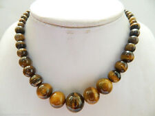 tunning! 6-12mm African Roar Tiger's Eye Necklace 17.5''