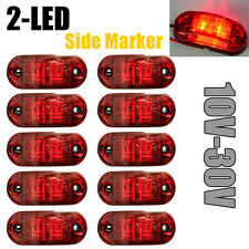 10X RED Side Light 2 LED Marker Trailer Truck RV Clearance Lamp DOT SAE 12V-30V