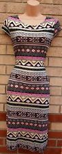 PINK PINK BLACK BLUE GOLD TRIBAL AZTEC ETHNIC BODYCON TUBE PENCIL SUMMER DRESS M