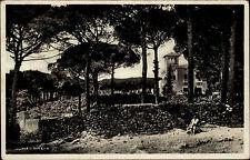 Ischia Insel Italia s/w AK 1934 Pineta Partie im Pinienwald Villa im Hintergrund