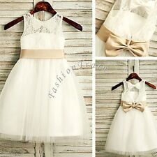 Vintage Girls Kids White Flower Princess Formal Party Wedding Bridesmaid Dresses