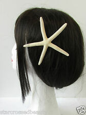 Real Starfish Hair Clip Beach Bridal Sea Shell Mermaid Boho Festival Cream R81