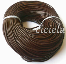 Lots Of Stylish 3 M Coffee Real Leather Necklace Charms Rope String Cord 2.0 mm