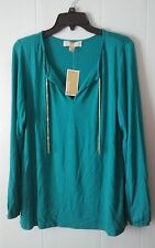 MICHAEL KORS   SIZE MEDIUM, LONG SLEEVE BLOUSE  EMERALD GREEN W/ GOLD CHAINS