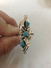 Native American Womens Zuni Leaf Turquoise Amy Locaspuno ring Size 8 Jewelry Wow