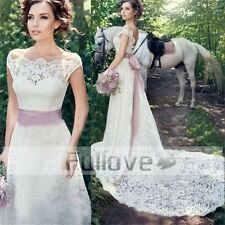 Vintage Lace Wedding Dress 2017 Pink Bow Sashes Cap Sleeves Bridal Wedding Gown
